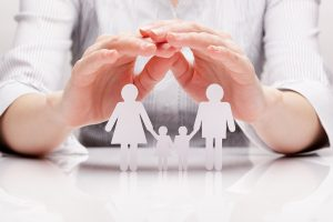 Hands hugging family cut out